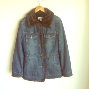 Marvin Richards Denim Faux Ranch Mink Jacket Sz M